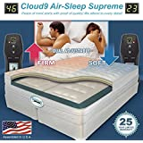 Queen CLOUD9 Air-Sleep Supreme Adjustable Bed Mattress w  50 Number Digital Remotes-Made In USA