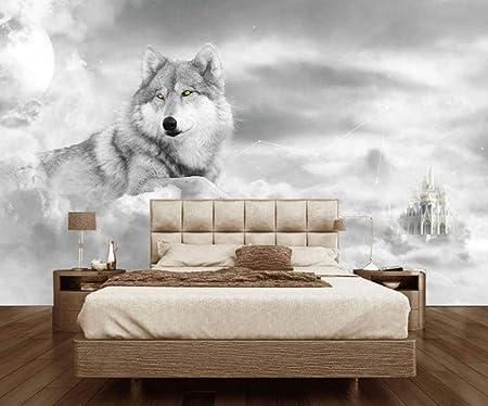 Chesapeake HTM48471B Shiloh Grey Wintry Wolf Portrait Wallpaper Border