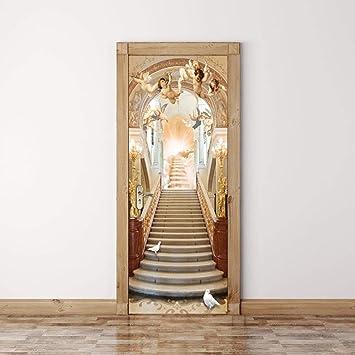 CFLEGEND Pegatinas de puerta en 3D Escalera angelito PVC DIY Papel autoadhesivo Mural etiqueta PapelFotográfico Vinilos Puerta Pegatina Pared Murales para Cocina Sala de Baño Decorativos puert80*200CM: Amazon.es: Bricolaje y herramientas