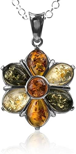 BALTIC AMBER STERLING SILVER 925 FLOWER LEAF PENDANT NECKLACE CHAIN JEWELLERY