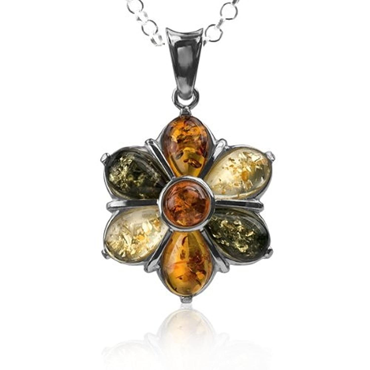 """Multicolor Amber Sterling Silver Flower Pendant Necklace Chain 18"""""""