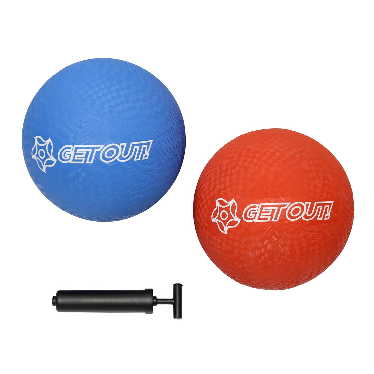 Get Out! Rubber Play Ball - 2 Pack Rubber Kickball 10 Inch w/ Hand Pump Inflator, Playground Balls for Kids