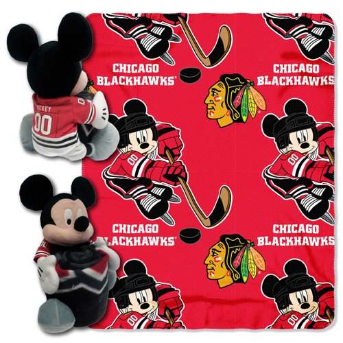 Officially Licensed NHL Chicago Blackhawks ''Ice Warriors'' Co-Branded Disney's Mickey Mouse Hugger and Fleece Throw Blanket Set, 40'' x 50'', Multi Color by The Northwest Company