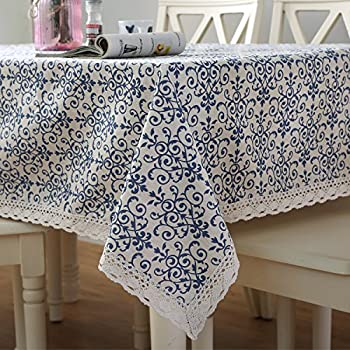 Famibay Vintage Square Tablecloth,Everyday Kitchen Table Cloth Indoor  Outdoor Decorative Macrame Lace Tablecloth Navy
