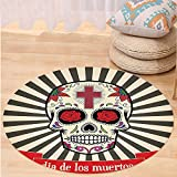 VROSELV Custom carpetDay Of The Dead Decor Floral Sugar Skull with Christian Cross on Sunburst Pattern for Bedroom Living Room Dorm Grey Beige and Red Round 72 inches
