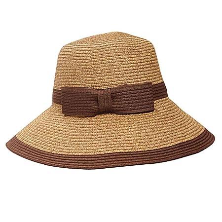 74813dc6199 Beetest-EU-Women Ladies Bowknot Wide Brim Foldable Straw Sun Visor Hat Beach  Travel Straw Hat Cap Camel + Coffee  Amazon.co.uk  Kitchen   Home