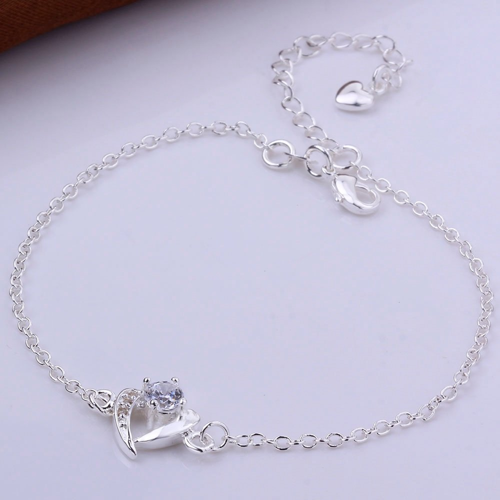 GYAYA Zircon Silver Plated Anklets For Heart Shaped Lucky Clover Flowers (Heart shaped) by GYAYA (Image #5)