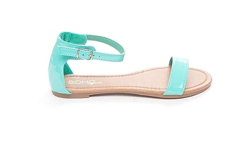 8513ab263209 Soho Shoes Women s Summer Ankle Strap Open Toe Flat Slide Sandal Aqua
