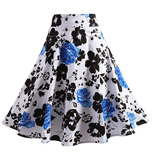 Fancyqube%28TM%29+Women+Pleated+Vintage+Skirts+Floral+Print+Midi+Skirt+Blue+Small
