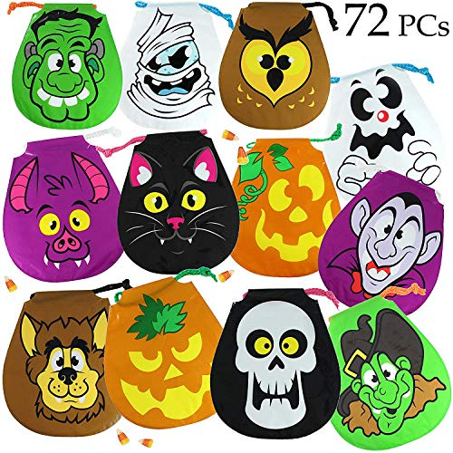 JOYIN Pack of 72 Halloween Drawstring Goody Bags for Halloween Treats Bags, Halloween Party Favors, Halloween Party Supplies -