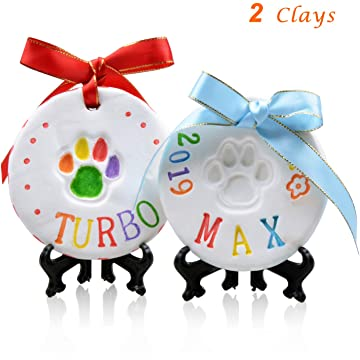 Pet Pawprint Keepsake Kit (2Packs)-DIY Clay Paw Print Memorial Impression Kits for Dog & Cat- Dogs Footprint Ornaments Memento with Non-Toxic Light Clay,Colorful Rainbow Ink Pad and Deluxe Tools Set