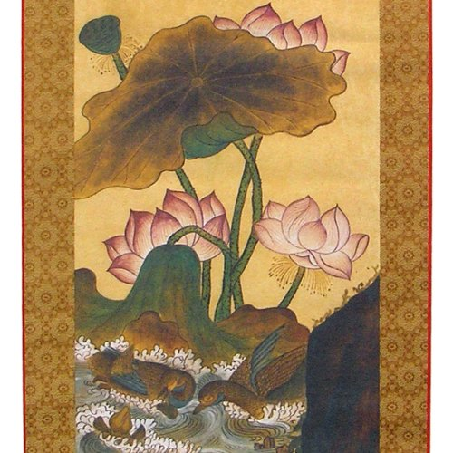 Lotus Flower and Duck in Pond Silk Scroll Hanging Wall Art I