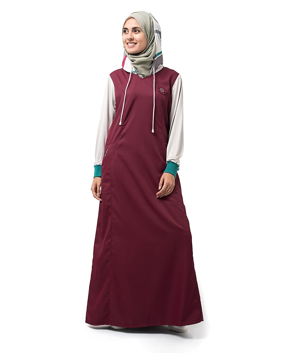 Silk Route Maroon Red Printed Hood Colour Block Polyester Sporty Maxi Dress Jilbab