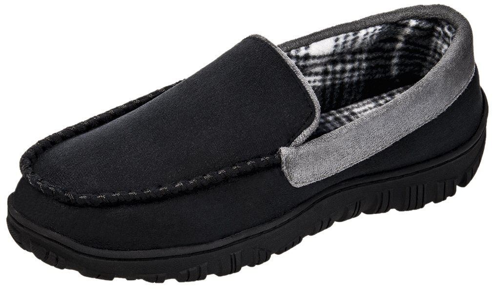 MIXIN Men's Casual Anti Slip Rubber Sole Indoor Outdoor Slip On Driving Loafers Moccasins Slippers Shoes Black and Grey Size 10 M
