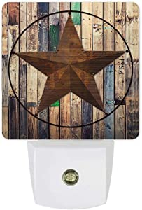 Plug-in LED Night Lights Lamp Rustic Barn Star Printed Auto Dusk-to-Dawn Sensor for Bedroom, Bathroom, Kitchen, Nursery,Hallway,Stairs,Wall Home Decor, Vintage Western Texas Star