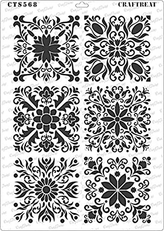 Reusable painting Template Stencils for DIY Crafts Wall Hanging Plates CrafTreat Stencil Scrapbooking Square Tiles Frames Cards Home decor A4 Fabrics Album making Bags Canvas