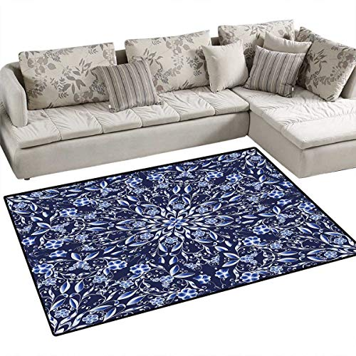 Dark Blue Area Rugs for Bedroom Chinese Painting Style Artwork Traditional Floral Interlace Print Door Mats for Inside Non Slip Backing 55