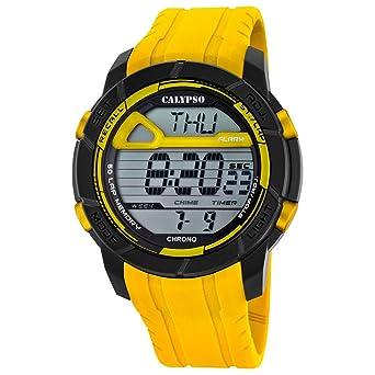 Calypso hombre-reloj deporte digital PU-pulsera amarillo y esfera de colour negro y amarillo cuarzo-reloj UK5697/1: Calypso: Amazon.es: Relojes