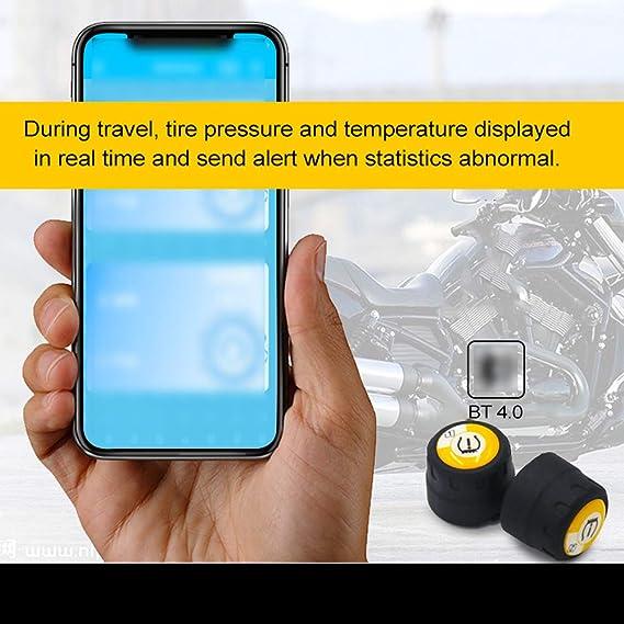 Drahtlose Bt 4 0 Tpms Reifendruckkontrollsystem Kit Niedrigenergie Handy App Erkennung Motorrad Reifendruckkontrolle Baumarkt