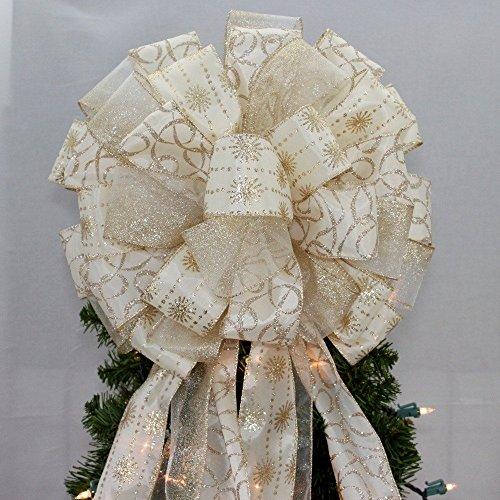 Ivory Gold Starburst Swirl Christmas Tree Topper Bow - 13