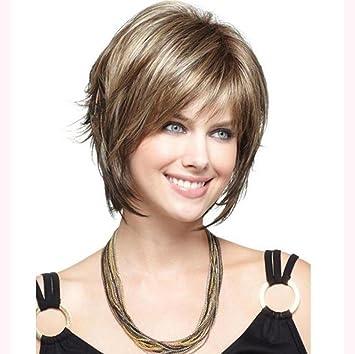 BF peluca de alambre de alta temperatura Europa y América personalidad femenina pelo corto manchado peluca
