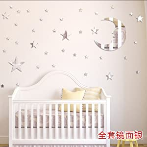 Amaonm Removable 3D Acrylic Mirror Surface Crystal Moon + 37 PCS Stars Wall Decal DIY Home Art Decor Wall Sticker Murals for Kids Boys and Girls Bedroom Room Ceiling Bathroom TV Background