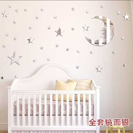 amaonm removable 3d acrylic mirror surface crystal moon 37 pcs stars wall decal diy home