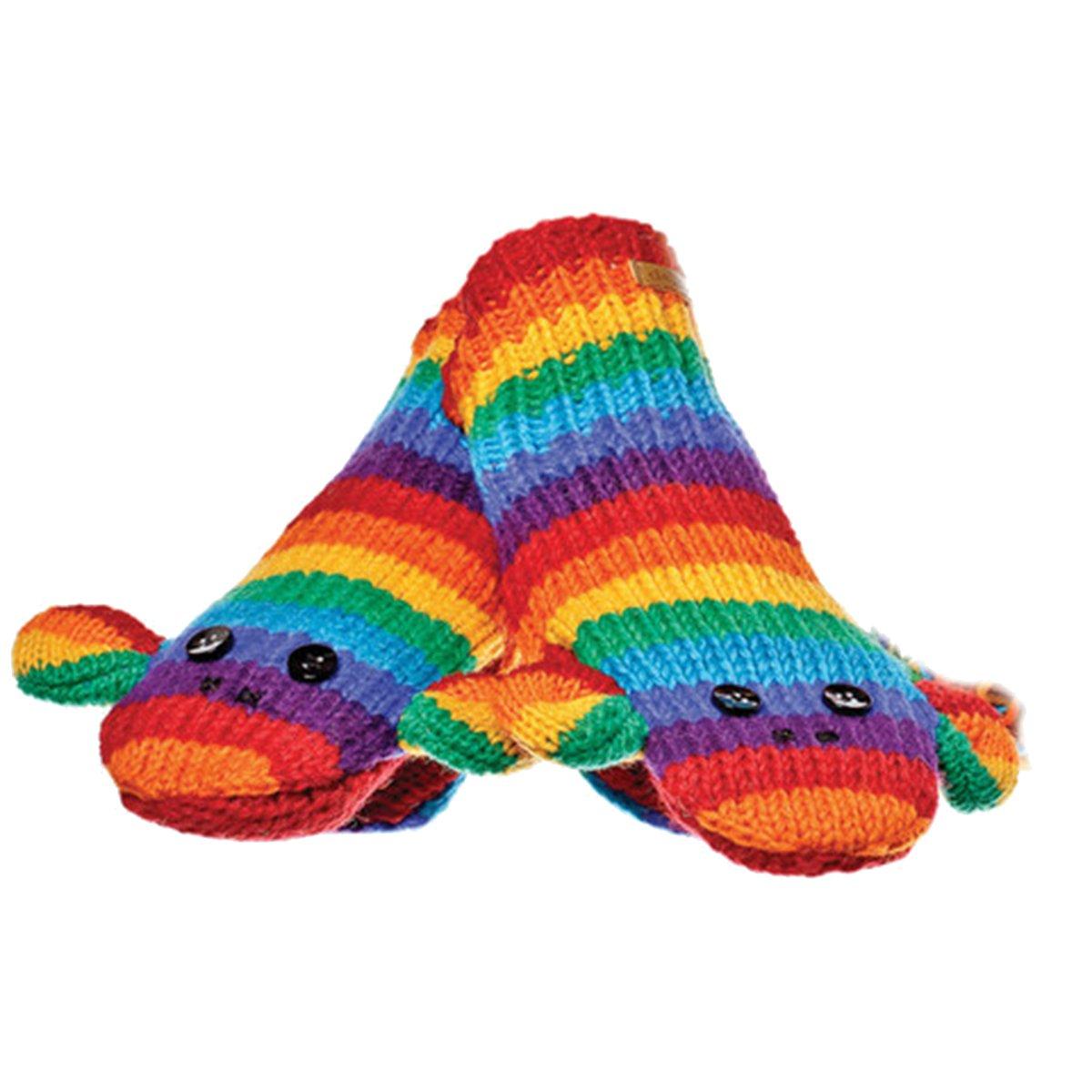 Animal World - Rainbow Stripe Sock Monkey Knit Mittens Multi