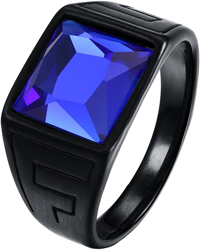 Oakky Men's Stainless Steel Black Plated Square Blue Gemstone Ring Brushed Finish