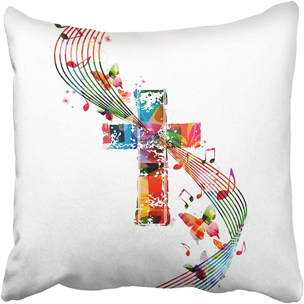 Amazon Com Throw Pillow Cover Polyester 18x18 Inch Music Of Colorful Cross With Butterflies Religious Angel Christian Church Faith Festival Two Sides Decorative Square Print Pillowcase For Home Home Kitchen
