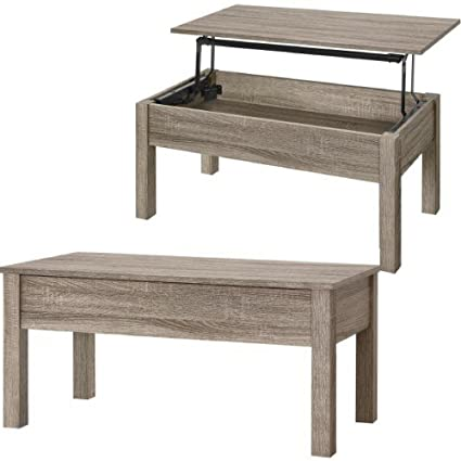 Amazon.com: Lift Top Cocktail Table With Hidden Storage Oak Brown Wooden Modern  Coffee Table Large Wood Rectangular Decorative Table Centerpiece For Living  ...