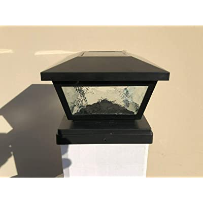 Ntertainment House 2-pcs Solar Post Cap Lights with Pebbled Print Glass Frames and 2 Ultra Bright SMD LEDs w/Optional Wall Mount 6x6 5x5 or 4x4 Base adapters (Black, 6x6)