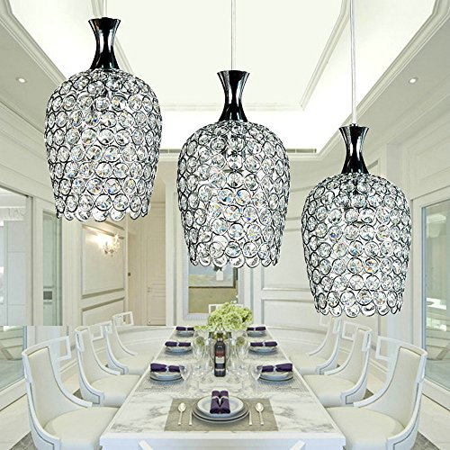 DINGGUTM Modern 3 Lights Crystal Pendant Lighting for Kitchen Island ...