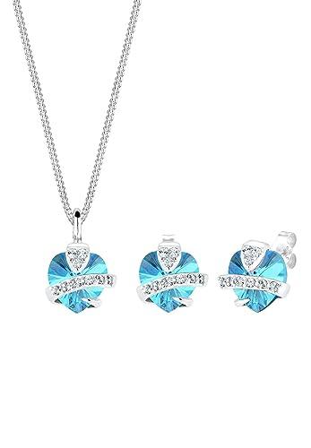 Elli Damen-Schmuckset Anhänger Halskette und Ohrstecker Herz 925 Sterling  Silber 0.001 Karat Swarovski Kristall 91d9b48aa5