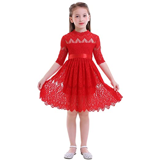52d9e3aed8 Amazon.com: Flower Girl Princess Party Pageant Gown Floral Lace Tutu Dress  for Kids Boho Rustic Vintage Skirt: Clothing