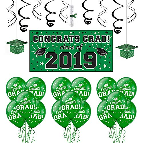 Party City Green Congrats Grad 2019 Graduation Decorating Supplies with Banner, Balloons, and Hanging Decorations]()