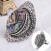 Fashion Punk Vintage Ring Womens Retro Big Crystal Stone Boho Finger Rings Ladys (silver)