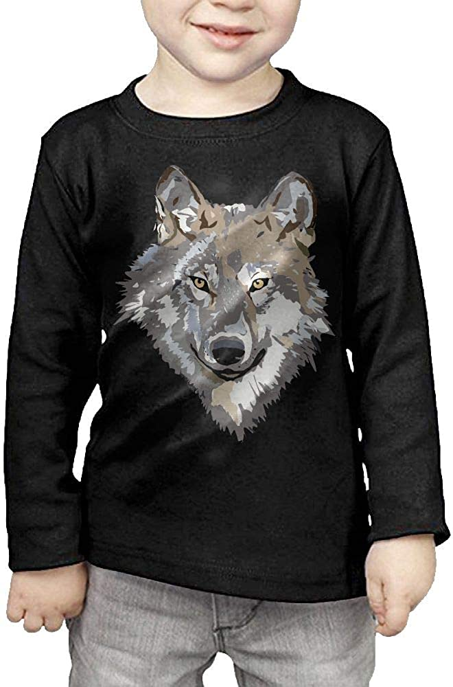 Baby Girls Little Boys Wolf Face Clipart ComfortSoft Long Sleeve Tee