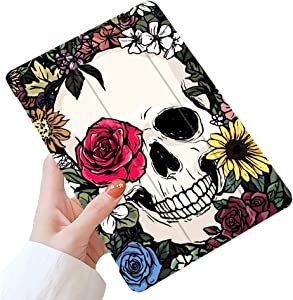 LuGeKe Skull Case for iPad 9.7 inch 2018 iPad 6th Generation / 2017 iPad 5th Generation,Skeleton Floral Patterned iPad Case Cover,Lightweight Slim Standing iPad Pro Cover for Girls Boys