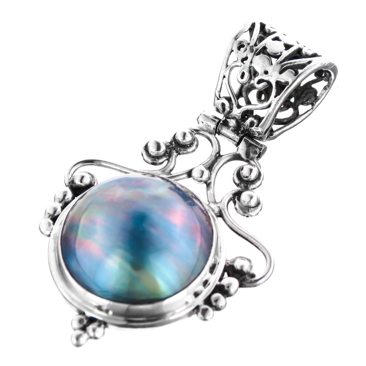 Blue Mabe Cultured Pearl 925 Sterling Silver Pendant 1 9//16
