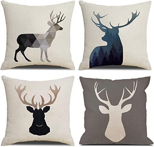 Deer Head Flower Cotton Linen Waist Cushion Cover Home Decoration Pillow Case