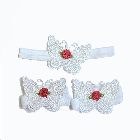 683dc5cc69b Vikenner 3Pcs / set Baby Lace Headband Toddlers Foot Flower Ribbon  Photography Props Butterflies Headdress Girl