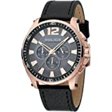 POLICE mens Quartz Watch, chronograph Display and Leather Strap PL.15139JBCR/61