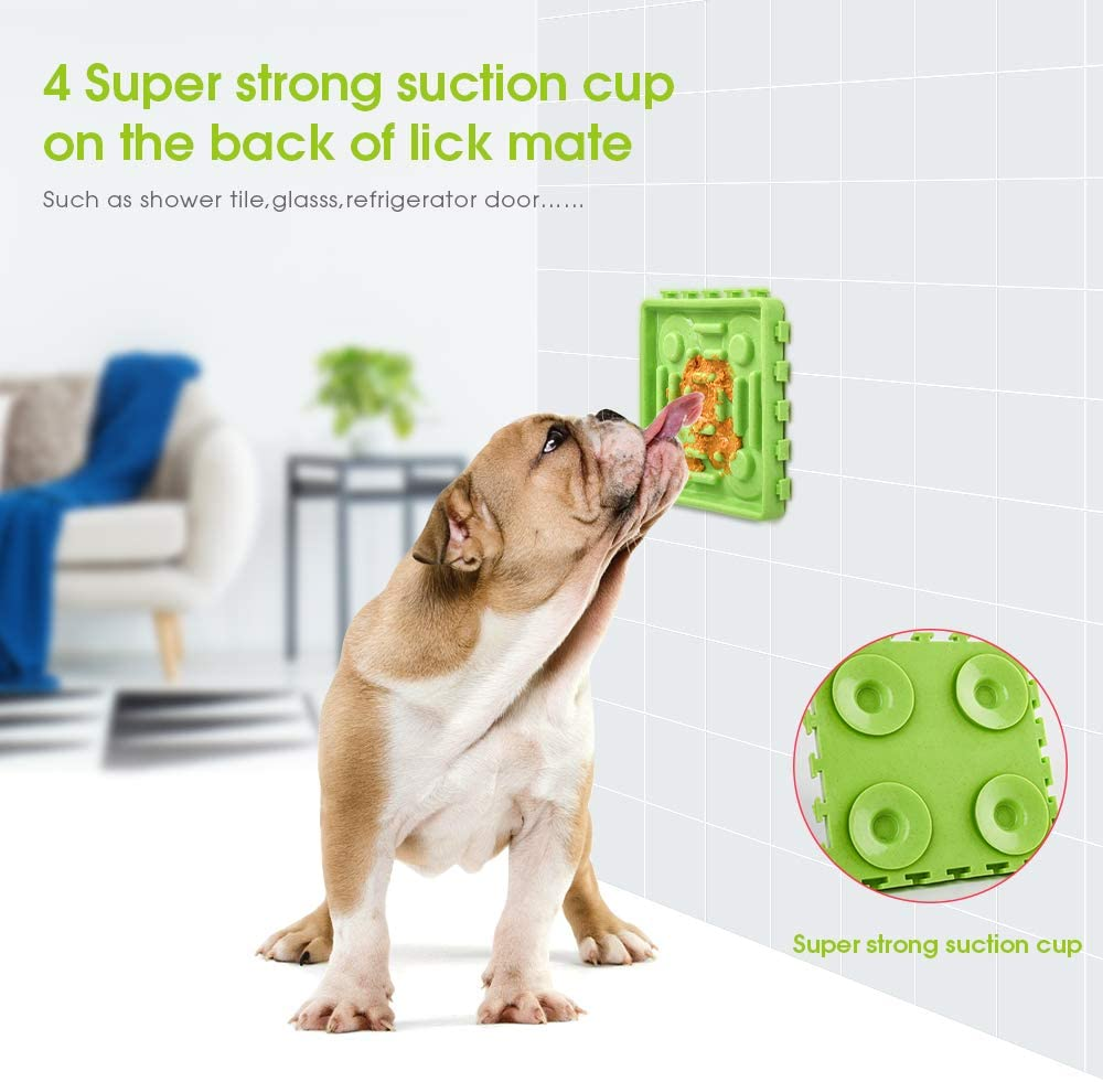 Dog Baths Grooming ABTOR Slow Feeder Dog Bowl Dog Lick Mat Set丨 4Pcs Fun Dog Treat Dispensing Mat丨Dog Lid Pad with Super Suction丨 Distraction Device for Anxiety