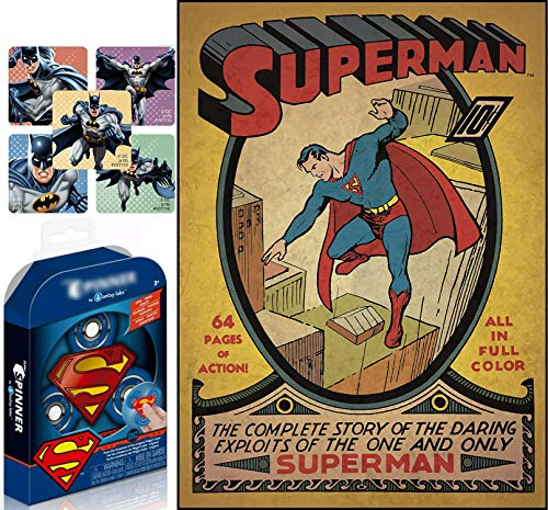 Twirl-Room Super Man Hero Pack Shield Toy Bundled with Large Poster Decal Comic Book Cover - Superman Issue #1 Peel & Stick Comic Book Wall / Room Cover 2-Items]()