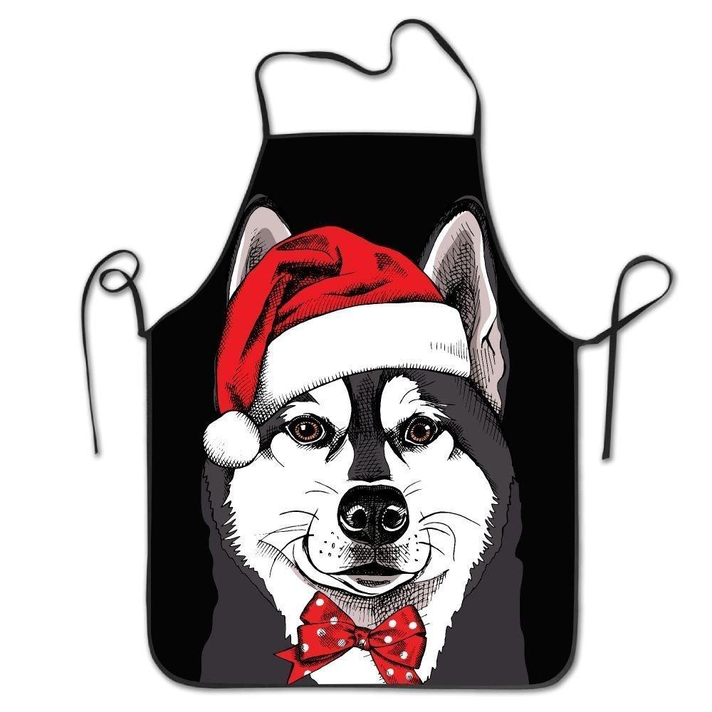 クリスマス犬ロックエッジ防水耐久性文字列調節可能お手入れ簡単料理エプロンキッチンエプロンレディースメンズのシェフ   B07DHF1M1T
