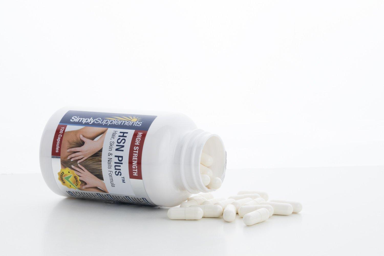 HSN Plus - 120 comprimidos - 2 meses de suministro -5 ingredientes para la salud de la piel, pelo y uñas - Con Colágeno y MSM - -SimplySupplements: ...