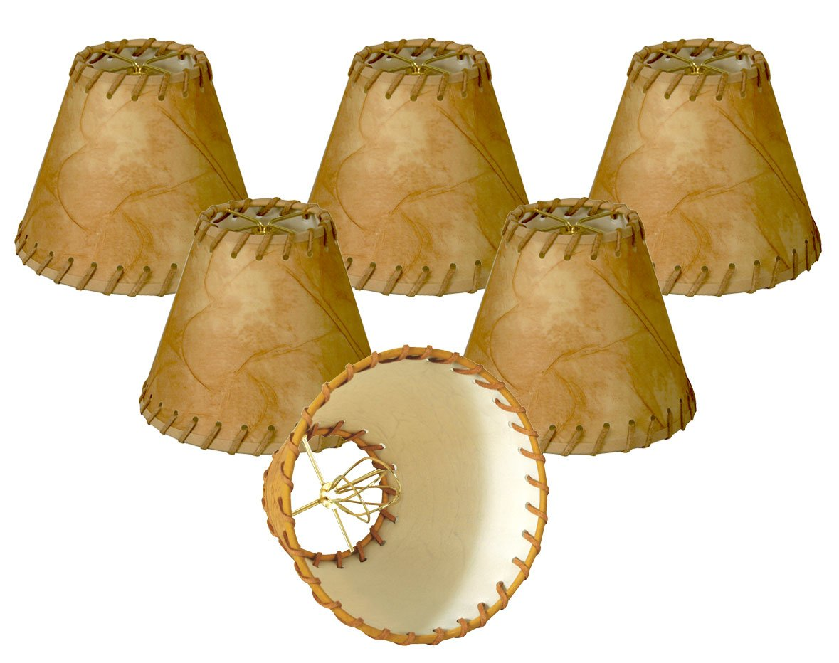 Royal Designs 6'' Faux 2-Tone Leather Medium Brown Chandelier Lamp Shade with Lace, Set of 6, 3 x 6 x 4.5 (CS-973-6-6)