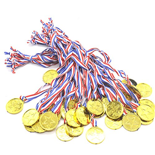 Pack of 36 Kids Adult Gold Medal Necklaces Winner Award for Party Prizes -