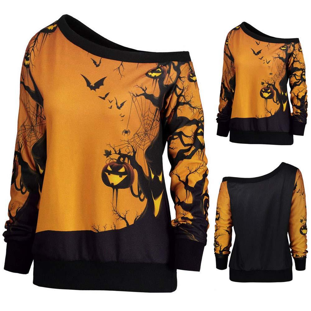 Deloito Halloween Tops, Christmas Pullover Jumper, Womens Xmas Off Shoulder Print Tops Long Sleeve Off Shoulder Long Blouse Shirt Tops